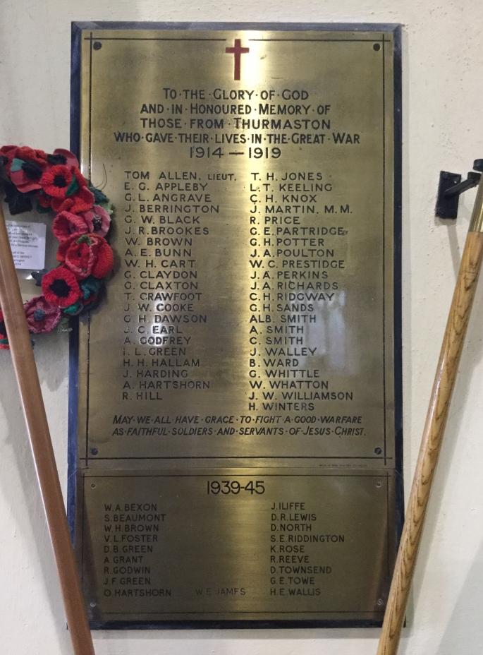 War Memorial inside St Michael & All Angels, Thurmaston